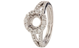 18K WHITE GOLD 3-SIDED SQUARE TOP MILLEGRAIN AND PAVE DIAMOND SEMI MOUNTING