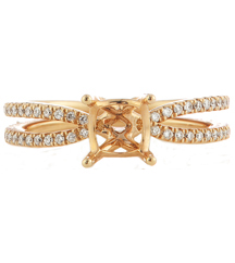 18K ROSE GOLD PAVE DIAMOND CUSHION OR PRINCESS SEMI MOUNTING