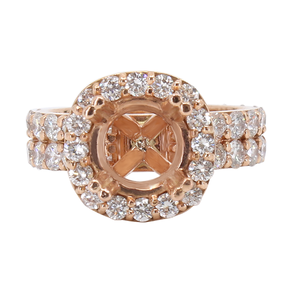 14K ROSE GOLD 12MM DOUBLE CUSHION HALO ENGAGEMENT RING