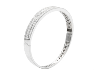 18K WHITE GOLD 5-ROW CHANNEL AND BEADSET DIAMOND BANGLE