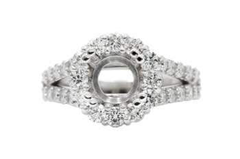 14k white gold round halo and split shank round diamond semi mounting