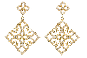 14K YELLOW GOLD FILIGREE DESIGN PAVE DIAMOND SQUARE DROP DESIGN EARRINGS