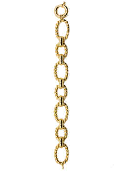 14K YELLOW GOLD TWISTED OVAL LINK AND POLISHED BAR BRACELET