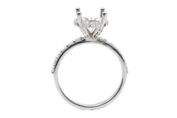 14k white gold shared prong semi mounting