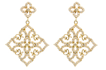 14k yellow gold filigree design pave diamond square drop earrings