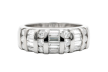 14k white gold round and baguette diamond barset ring