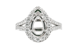 14k white gold pear shaped halo and split shank semi mounting