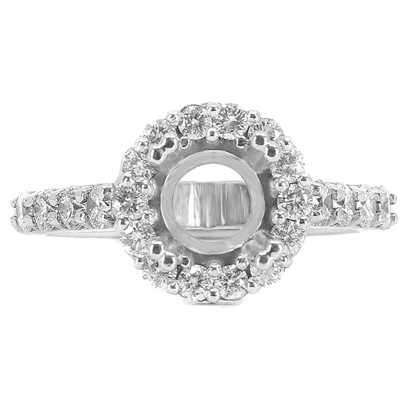 14K WHITE GOLD SHARED PRONG 10MM ROUND HALO ENAGEGMENT RING