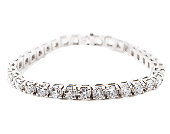 14K WHITE GOLD ROUND DIAMOND TENNIS BRACELET AT 5.00CTTW