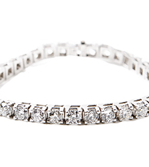 14K WHITE GOLD ROUND DIAMOND TENNIS BRACELET AT 6.00CTTW