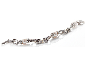 STERLING SILVER AND YELLOW GOLD FRESH WATER PEARL ROPE LINK BRACELET