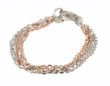 STERLING SILVER AND ROSE GOLD BRACELET