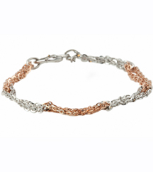 STERLING SILVER AND ROSE GOLD PLATE BRACELET