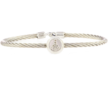 STERLING SILVER CABLE BANGLE WITH ROUND PEACE SIGN DIAMOND STATION