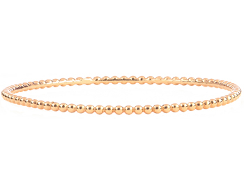 14K ROSE GOLD ROUND BEADED BANGLE