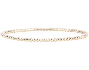 14K WHITE GOLD ROUND BEADED BANGLE
