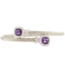 STERLING SILVER CABLE BANGLE WITH BEZEL SET CUSHION AMETHYST ENDS