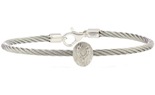 STERLING SILVER CABLE BANGLE WITH OVAL WISHBONE DIAMOND STATION