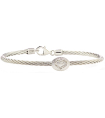 STERLING SILVER CABLE BANGLE WITH OVAL OPEN HEART DIAMOND STATION
