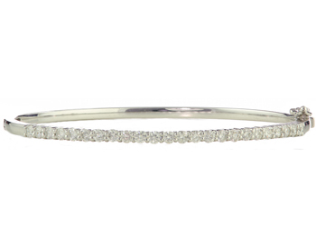 14K WHITE GOLD SHARED PRONG DIAMOND BANGLE