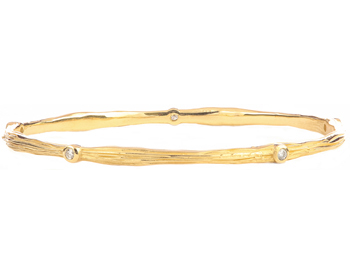 14K YELLOW GOLD BARK DESIGN AND ROUND DIAMOND BANGLE