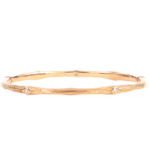 14K ROSE GOLD AND DIAMOND BARK DESIGN BANGLE
