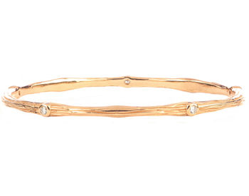 14K ROSE GOLD BARK DESIGN AND ROUND DIAMOND BANGLE