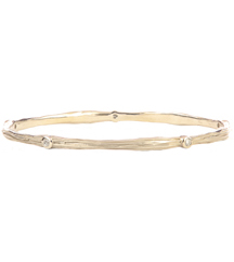 14K WHITE GOLD BARK AND DIAMOND DESIGN BANGLE