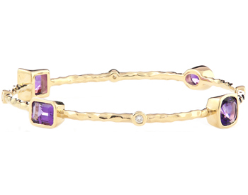 14K YELLOW GOLD TEXTURED AMETHYST AND DIAMOND BANGLE