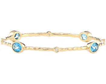 14K YELLOW GOLD TEXTURED SWISS BLUE TOPAZ AND BEZEL SET DIAMOND BANGLE