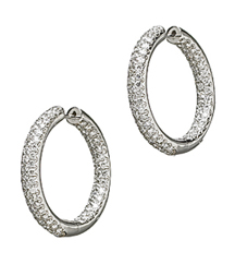 14K WHITE GOLD IN AND OUT PAVE DIAMOND HOOP EARRINGS