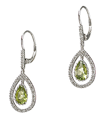 14KWG .16TW PAVE EARRINGS WITH 1.53TW PS PERIDOT