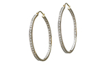 14K YELLOW GOLD IN AND OUT PAVE DIAMOND HOOP EARRINGS