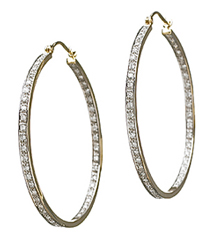 14KYG .75TW IN/OUT PAVE DIAMOND HOOPS