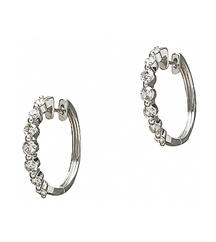 14K WHITE GOLD ROUND DIAMOND SHARED PRONG HUGGIE EARRINGS