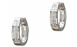 14K WHITE GOLD DOUBLE ROW INVISIBLY SET DIAMOND HUGGIE EARRINGS