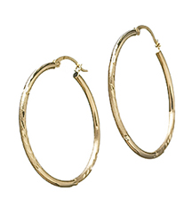 14kYG DIAMOND CUT HOOP EARRINGS