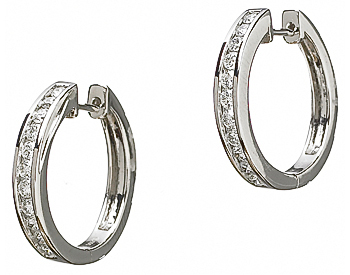 14K WHITE GOLD ROUND CHANNEL SET DIAMOND HUGGIE EARRINGS