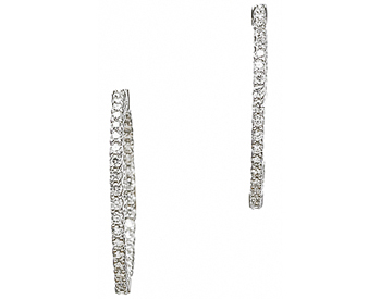 14K WHITE GOLD IN AND OUT ROUND DIAMOND HOOP EARRINGS