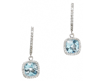 14K WHITE GOLD CUSHION BLUE TOPAZ AND PAVE DIAMOND DROP EARRINGS
