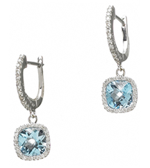14KWG .32TW PAVE AND BLUE TOPAZ EARRINGS 2.43TW