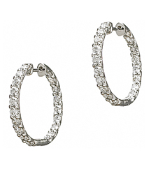 14K WHITE GOLD IN AND OUT PRONG SET DIAMOND HOOP EARRINGS