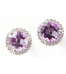 14KWG .16TW PAVE ROUND EARRINGS WITH ROUND AMETHYSTS