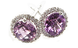 14K WHITE GOLD AMETHYST CENTER AND PAVE DIAMOND HALO STUD EARRINGS