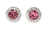 14K WHITE GOLD PINK TOURMALINE CENTER AND PAVE DIAMOND HALO STUD EARRINGS