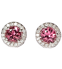 14KWG .22TW PAVE DIAMOND AND PINK TOURMALINE EARRINGS