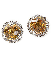 14KWG .16TW PAVE ROUND EARRINGS WITH ROUND CIRTRINES