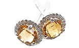 14K WHITE GOLD CITRINE CENTER AND PAVE DIAMOND HALO STUD EARRINGS