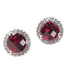 14K WHITE GOLD GARNET CENTER AND PAVE DIAMOND HALO STUD EARRINGS