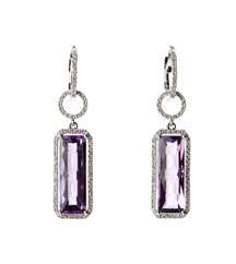14KWG .42TW PAVE ELONGATED OCTAGON AMETHYST EARRINGS